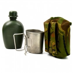 DUTCH ARMY CANTEEN & METAL CUP & THERMO-POUCH DPM CAMO Used